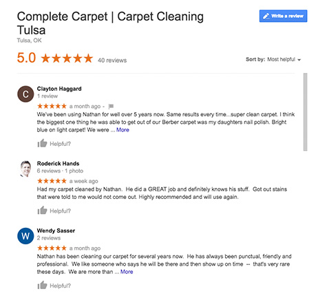 Carpet Cleaning Tulsa Reviews